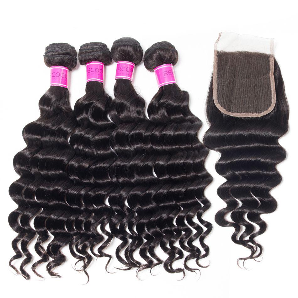 Virgin Peruvian Hair Loose Deep Wave 4 Bundles With Closure