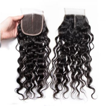 Wet and Wavy Human Hair Closure Water Wave 1 PCS
