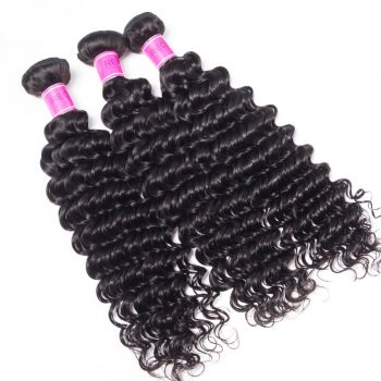 Wholesale Virgin Human Hair Indian Deep Wave 3 Bundles