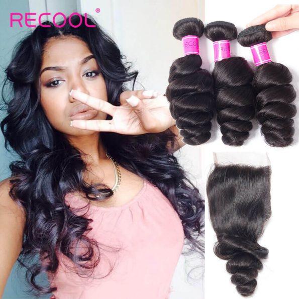 recool hair loose wave 3 bundles with closure 1