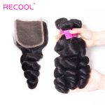 Best Malaysian Loose Wave hair bundles With Lace Closure