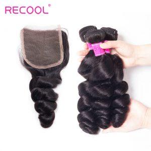 Recool Hair Peruvian Loose Wave Bundles With Closure 100% Remy Virgin Hair 3 Bundles With Closure