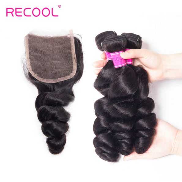 recool hair loose wave 3 bundles with closure 7