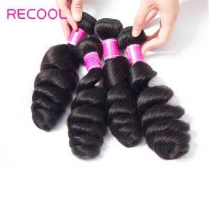 Recool Hair Peruvian Loose Wave Bundles Virgin Hair Weave 4 Bundles Spring Loose Curly Human Hair