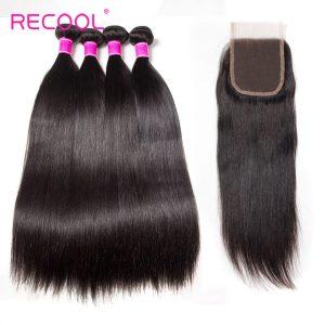 Recool Hair Malaysian Straight Hair 4 Bundles With Closure 8A Remy Virgin Human Hair Bundles With Closure
