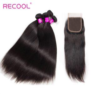 Recool Hair Brazilian Straight Hair 4 Bundles With Closure High Quality Virgin Human Hair Bundles With Closure
