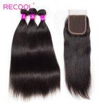 10A Malaysian Straight Hair Bundles with Closure