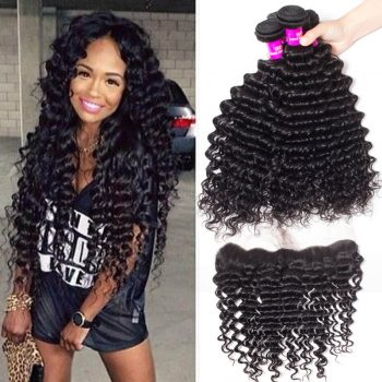Indian Deep Wave Human Hair 3 Bundles With Frontal Recool Hair Human Hair Bundles With 13*4 Frontal Deep Wave Curly