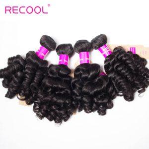 Recool Malaysian Virgin Hair Bouncy Curly Weave 4 Bundles Funmi Hair 100% Remy Human Hair Bundles