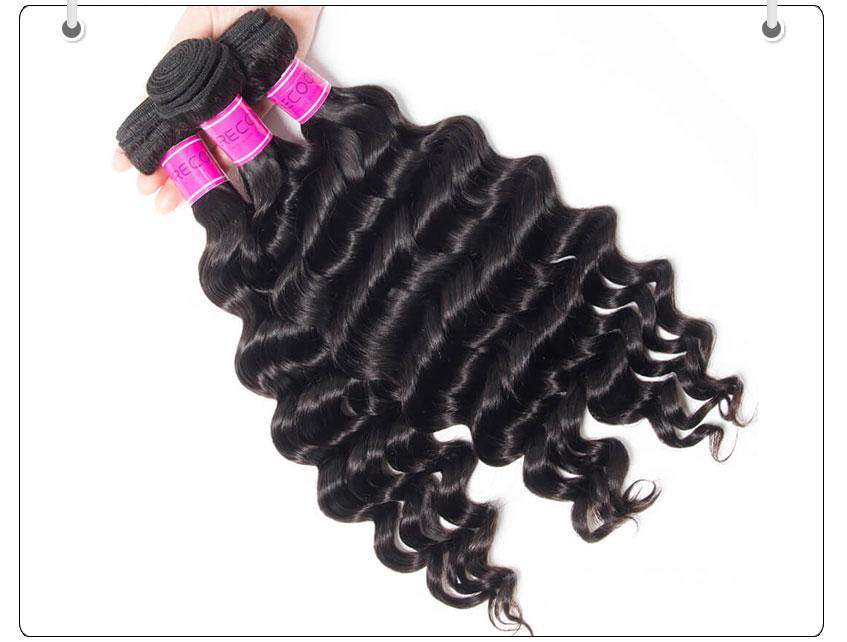100% Virgin Human Hair loose deep Wave Bundles with Lace closure