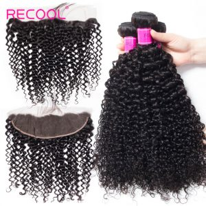 Recool Lace Frontal Closure With Bundles 3Pcs/Lot Curly Weave Human Hair Bundles Brazilian Virgin Human Hair Bundles With Frontal