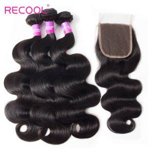Malaysian Hair Body Wave 3 Bundles With Closure Recool Hair 8A Grade Virgin Human Hair With Closure