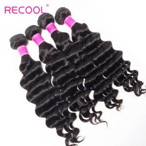 Recool Hair Loose Deep Wave Malaysian Virgin Hair 4 Bundles 100% Remy Human Hair Extension Bundles