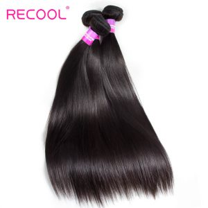 Recool Hair Malaysian Straight Hair 4 Bundles 100% Virgin Human Hair Weave Bundles 8A Premium Remy Hair
