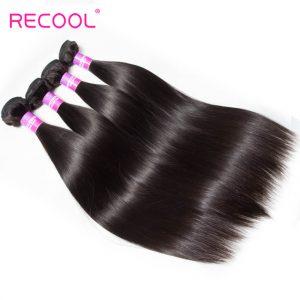 Recool Hair Indian Straight Hair 4 Bundles 100% Virgin Human Hair Weave Bundles 8A Premium Remy Hair