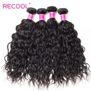 Wet And Wavy Human Hair Weave 4 Bundles Recool Hair Virgin Indian Hair Water Wave Bundles