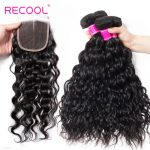 Brazilian Hair Water Wave Bundles With Lace Closure