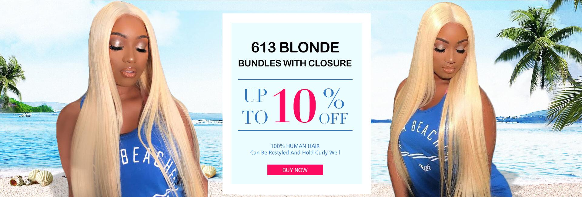 Brazilian Virgin Human Hair 613 Blonde Straight hair,613 Blonde Straight Lace Closure