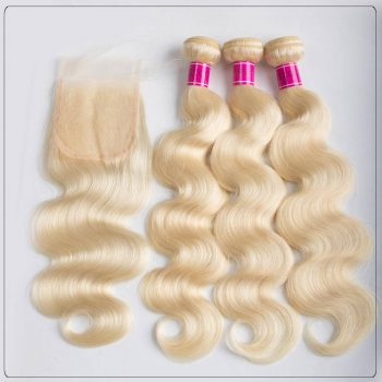 Brazilian 3 Bundles Body Wave 613 Blonde Human Hair Weaves With Lace Closure