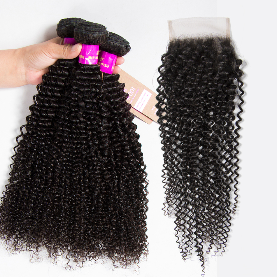 Kinky Curly Virgin Hair With Closure Raw Brazilian Hair Bundles