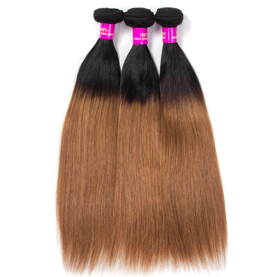Brazilian Ombre Straight Hair 1B30 Virgin Human Hair Bundles