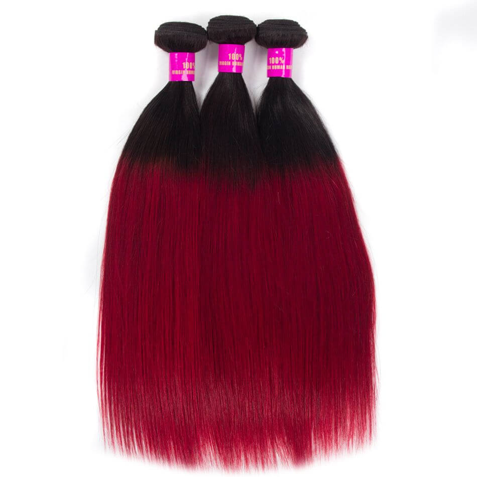 Ombre Color Hair 1B Burgundy Straight Remy Human Hair