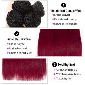 Ombre Straight Hair 1B/Burgundy Remy Human Hair Bundles