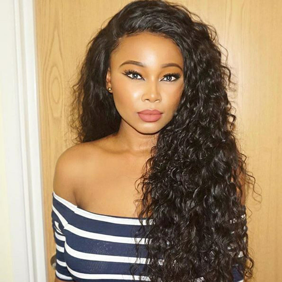 Water Wave Lace Front Human Hair Wigs Pre Plucked With Baby Hair