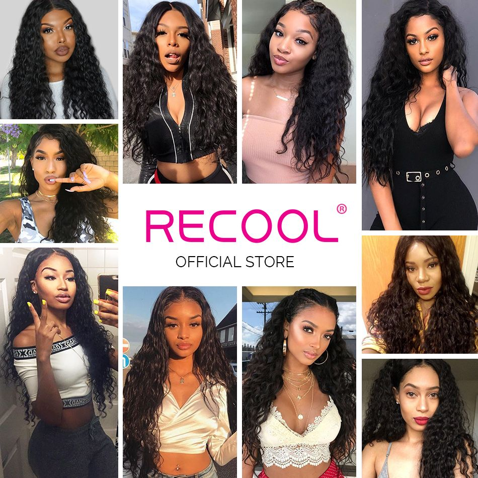 water wave human hair lace front wig model show