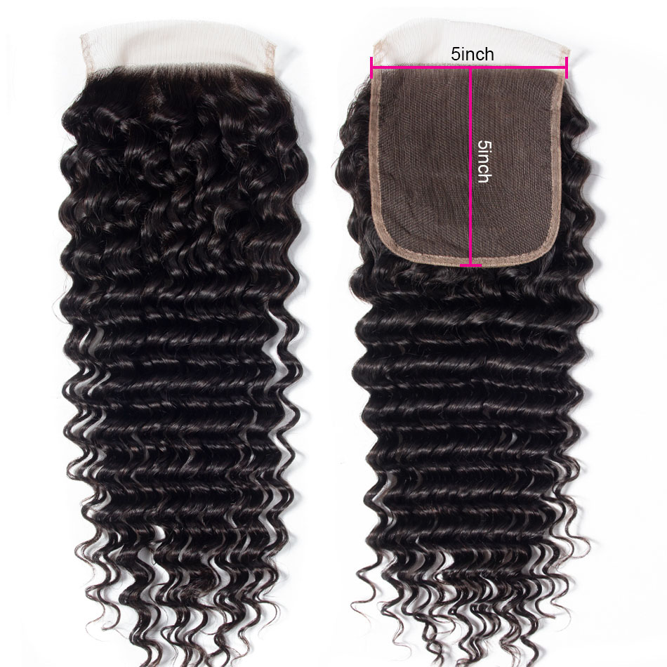 Virgin Deep Wave Human Hair 5X5 Lace Closure