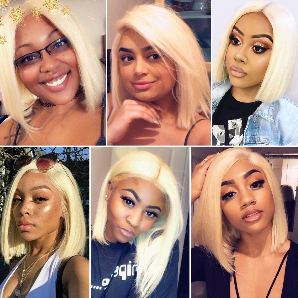 613 Blonde Brazilian Straight 13x6 Lace front Bob Wigs