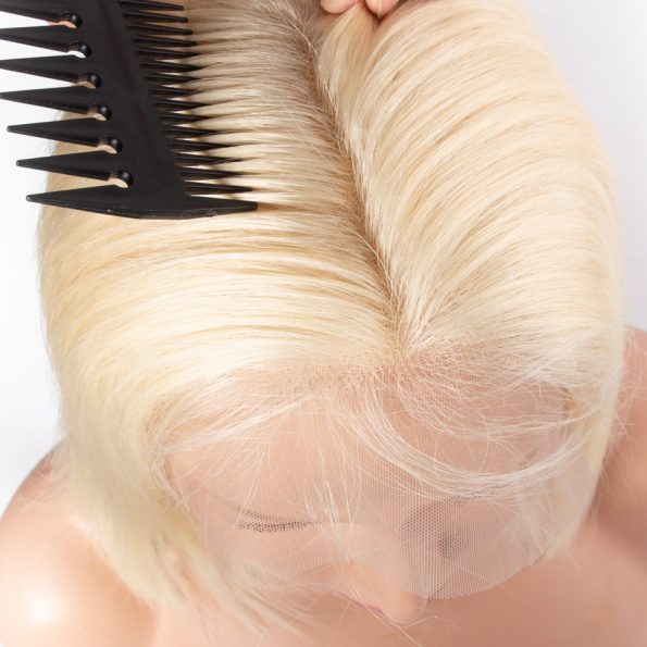 613 blonde straight hair bob lace front wig 5