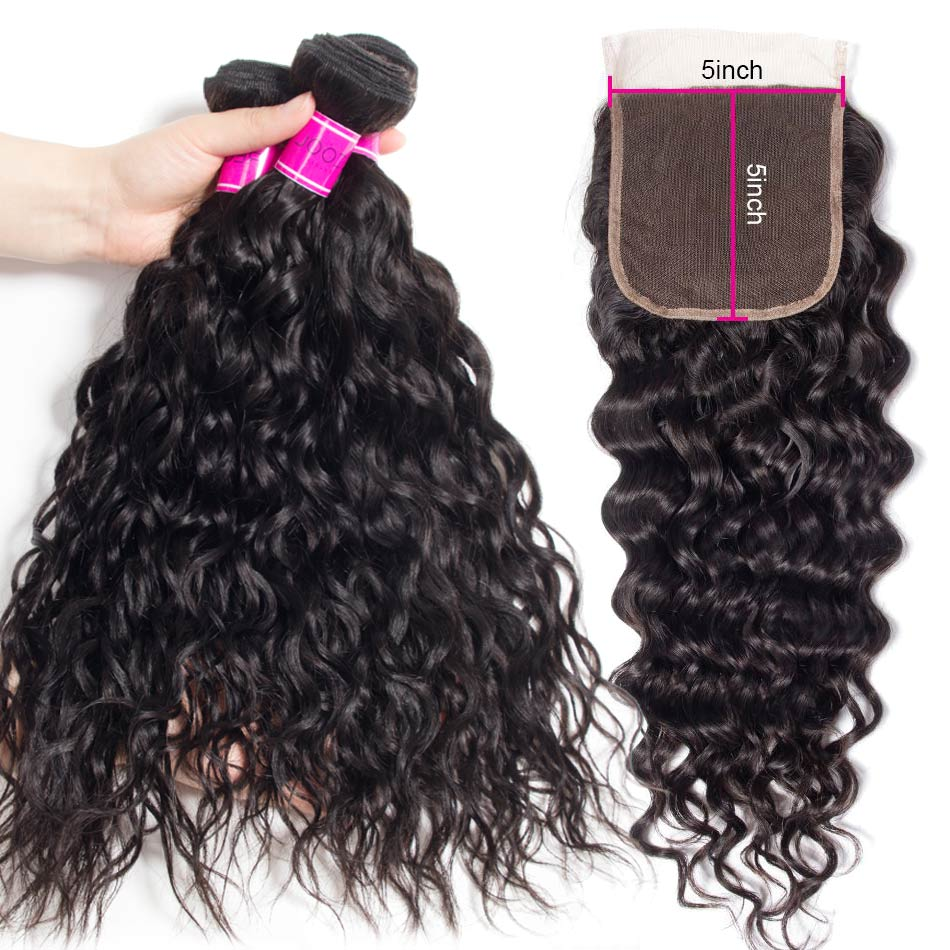Brazilian Water Wave Hair 3 Bundles With 5×5 Lace Closure