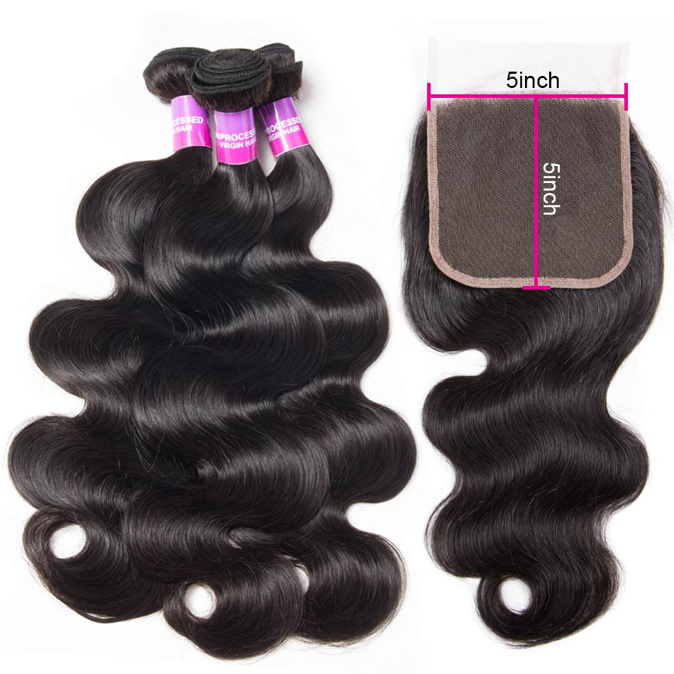 body wave hair bundles with 5×5 lace closure