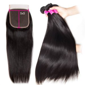 straight hair bundles with 5x5 lace closure