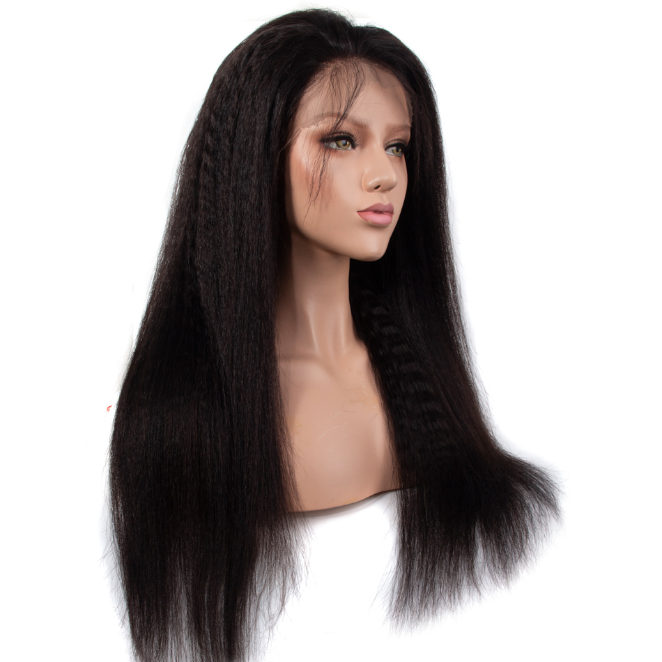 Recool Kinky Straight 360 Wig Pre Plucked Lace Front Human Hair Wigs With Baby Hair Coarse Yaki Remy Brazilian Lace Front Wigs