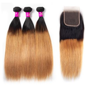1B 27 straight hair bundles with lace closure