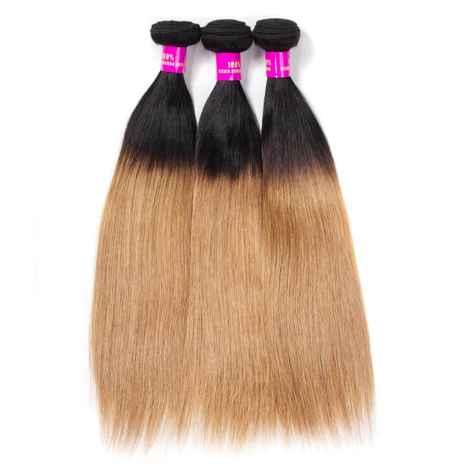 Brazilian Ombre Hair 1B27 Ombre Blonde Straight Human Hair