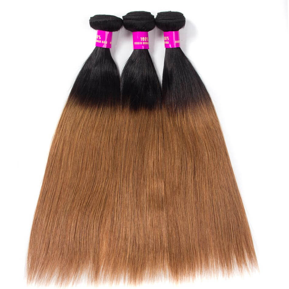 Brazilian Ombre Straight Hair 1B30 Virgin Human Hair Bundles 1