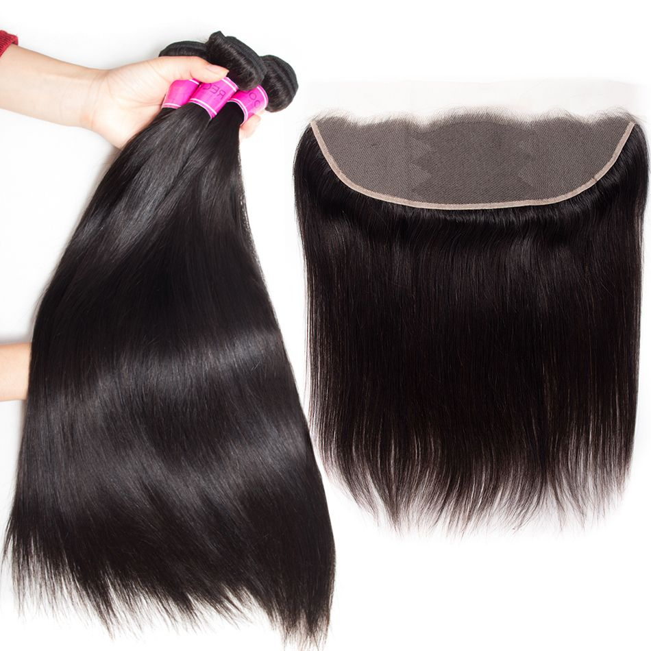 Straight hair bundles with 13×4 transparent lace closure