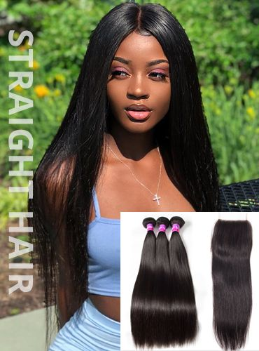 straight hair weave bundles with lace closure