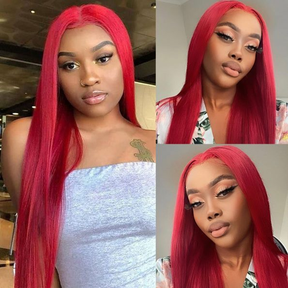 red human hair lace front wig (1)