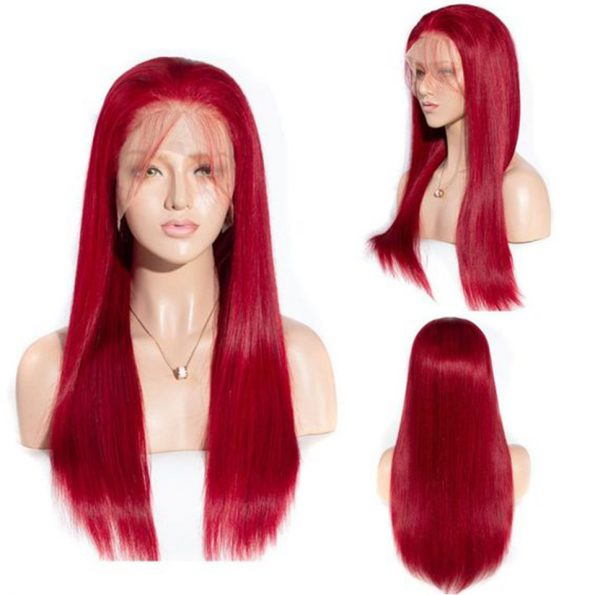 red human hair lace front wig (3)